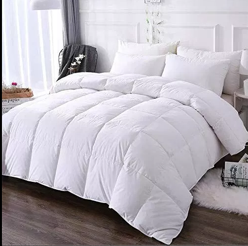 DOWNCOOL 100% Cotton Quilted Down Comforter with Corner Tabs